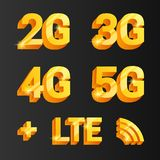 Golden vector set. 2g, 3g, 4g, 5g connetcion icons. Golden vector set. 2g, 3g, 4g, 5g icons. isolated on dark background Stock Image