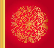 Golden vector snowflake on red background. Golden mandala background. Art nouveau round ornament Stock Image
