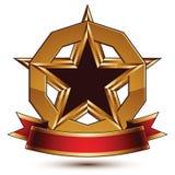 Golden vector stylized round symbol with black glamorous pentago Royalty Free Stock Photography