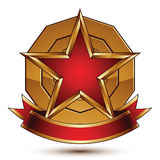 Golden vector stylized round symbol with red glamorous pentagona Stock Photography