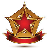 Golden vector stylized symbol with red star and glamorous wavy b Royalty Free Stock Images