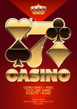 Golden vector template promo exclusive flyer for chic casino night event Royalty Free Stock Photos