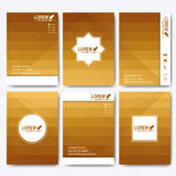 Golden vector templates for brochure, flyer, cover magazine or report in A4 size. Business, science, medicine and Royalty Free Stock Photo