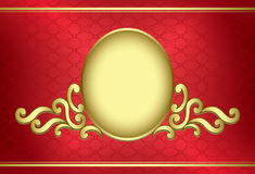 Golden vector vintage frame on red background Stock Photos