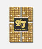 Golden vector vintage gift card design with shining rounds background. New Year 2017 concept. Vector illustration Stock Photography