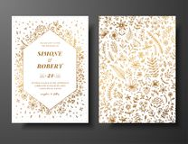 Golden vector wedding invitation with hand drawn twigs, flowers and brahches. Golden botanical template for wedding. Invite, save the date card, greeting card vector illustration
