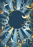 Golden vegetable pattern and ray Royalty Free Stock Photo