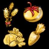Golden vegetables on black background Royalty Free Stock Photo