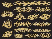 Golden vehicle motorcycle flames set design on black background. Vector pattern fire design, speed racing auto decoration illustration Royalty Free Stock Image