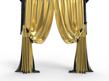 Golden velvet curtains royalty free illustration