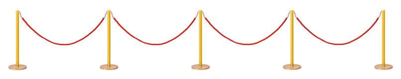 Golden velvet rope barrier Royalty Free Stock Photos