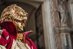 Golden Venetian Carnival Mask Royalty Free Stock Photos