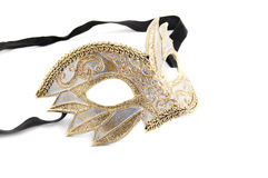 Golden venetian mask. Isolated on white Royalty Free Stock Photo