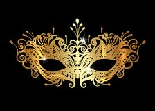 Free Golden Venetian Mask Realistic With Laser Cut Gold Embroidery. Stylish Masquerade Party. Mardi Gras Card Invitation. Night Party Royalty Free Stock Photos - 140904138
