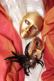 Golden venetian masks Stock Photos