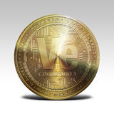 Golden veritaseum coin isolated on white background 3d rendering. Illustration Royalty Free Stock Photography
