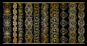 Golden vertical borders collection. Floral gold royal clipart for wedding design. Menu and other Stock Photos