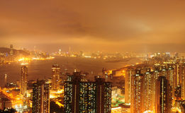 Golden Victoria Harbour. Victoria Harbour at night, look like gold stock photography