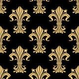 Golden victorian fleur-de-lis seamless pattern Royalty Free Stock Photo
