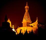 Golden view of Swayambhunath Stupa Stock Photos