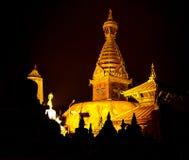 The golden view of Swayambhunath Stupa,Kathmandu,Nepal Royalty Free Stock Images