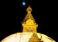 Golden view of Swayambhunath Stupa Royalty Free Stock Images