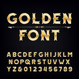 Golden vintage alphabet font. Metallic effect letters and numbers. Retro vector typeface for your design Stock Photos