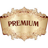 Golden vintage baroque scroll design frame engraving acanthus fl Royalty Free Stock Image