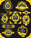 Golden vintage black labels Royalty Free Stock Image