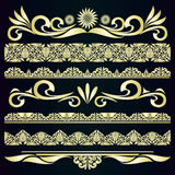 Golden vintage borders & design elements. Stock Images