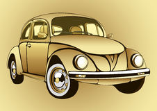 Golden vintage car. Gold retro cartoon machine on a  background. Vector  illustration Stock Image