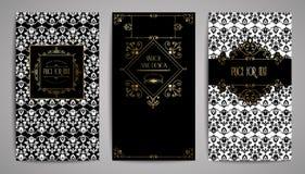 Golden vintage card. Vector illustration for retro design. Gold elegant frame. Label set. Luxury invitation background Royalty Free Stock Images