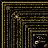 Golden vintage corner borders set. On black background. Vector illustration Stock Image