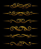 Golden vintage dividers Royalty Free Stock Images