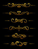 Golden vintage dividers and borders vector illustration