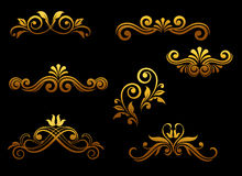 Golden vintage elements and borders Stock Photo