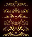 Golden vintage elements and borders set for ornate decoration.  Royalty Free Stock Photos