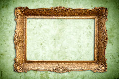 Golden vintage empty frame Royalty Free Stock Images