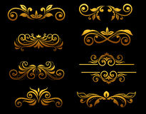 Golden vintage floral elements Royalty Free Stock Photo