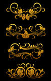 Golden vintage floral elements Royalty Free Stock Photos