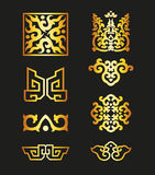 Golden Vintage Floral Elements for Your Design Stock Photo