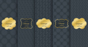 Golden vintage frame on black pattern background Royalty Free Stock Photos
