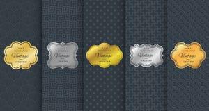 Golden vintage frame on black pattern background Stock Photo