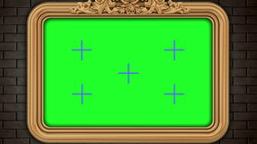 Golden vintage frame on brick wall. Design retro element. Green screen.  stock video