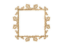 Golden vintage frame. Isolate mirror. Design retro element.  physical realistic reflection . Stock Image