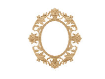 Golden vintage frame. Isolate mirror. Design retro element.  physical realistic reflection . Stock Photography