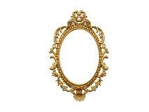 Golden vintage frame, mirror. Design retro element. physical realistic reflection . 3d rendering. stock illustration