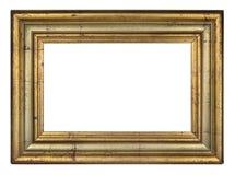 Golden vintage frame. Vintage rectangle golden frame on a white background, isolated stock image