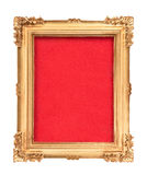 Golden vintage frame with red background Royalty Free Stock Image