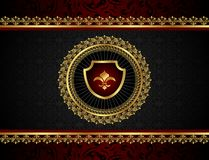 Golden vintage frame with shield Royalty Free Stock Photo